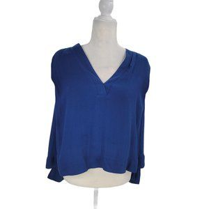 Free People Darcy V-Neck Knit Blouse Blue Tank Top